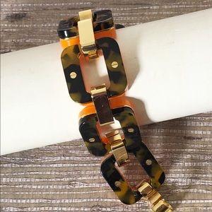 J Crew statement bracelet chain link tortoise